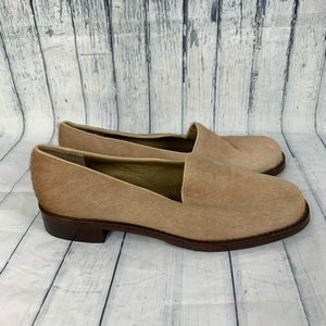 Yves Saint Laurent YSL Beige Calf Hair Loafers